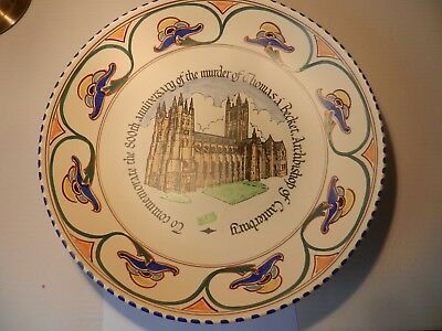 Honiton pottery 800th year commemorative charger of Thomas a Becket