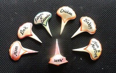6  +1  X  Vintage  Sandwich Markers Hand Painted Pottery  Party