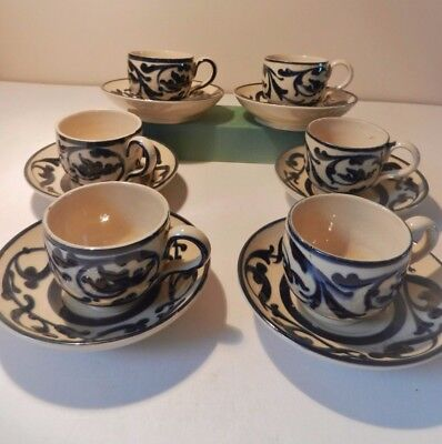 A set of 6 Aller Vale Sandringham pattern Cups and Saucers