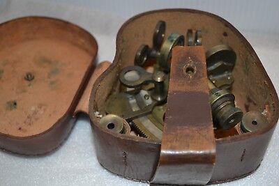 Antique Navigation SEXTANT w LEATHER BOX  Brass  Nautical Stanley London #199401