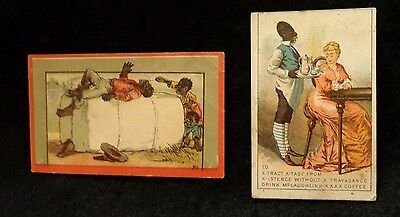 Black Americana Victorian Trade Cards 2 in Lot  Advertising McLaughlin Coffee