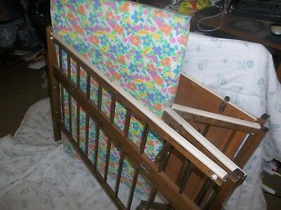 """Vintage Baby'S Wooden""""PORT-A-CRIB"""" /Play Pen, Folds For Storage, W/Mattress"""