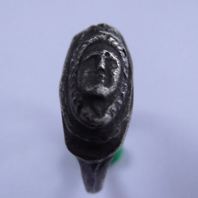 Greek  Ancient Artifact Silver Ring With Goddess