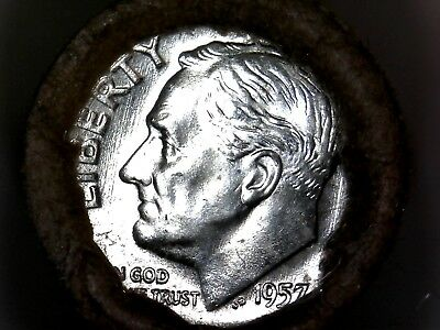 1957 D Bu Roll Roosevelt Dimes *silver *sealed *unsearched *private Collection