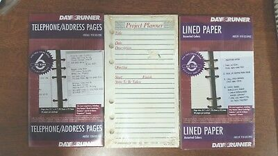 """Day Runner Refill Pack Lined Paper Project Planner Phone Address  3.75"""" x 6.75"""""""