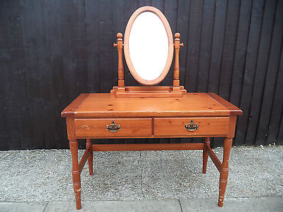 Antique Solid Pine Dressing Table Vanity Unit - Mirror Turned Legs Shabby Chic