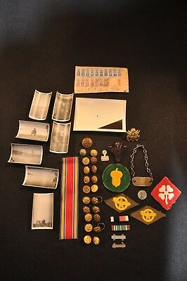 WW2 US Photos, Ribbons, Patches, Insignia, Bakelite Kilroy Was Here RARE LOT N/R