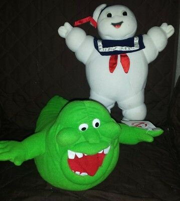 """VTG RARE GHOSTBUSTERS 12"""" SLIMER & 13""""  STAY PUFT MARSHMALLOW MAN PLUSH LOT 80s"""