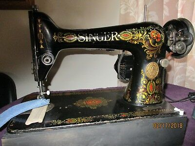 """Vintage Leather Sewing Singer """"red Eye"""" Sewing Machine Very Good Condition"""