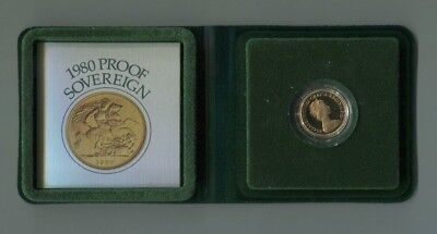1980 Gold Proof Sovereign Royal Mint Uk In Case & With Certificate 22 Carat