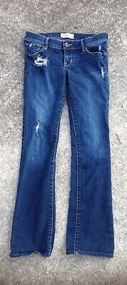 Abercrombie kids blue jeans the a&f boot destroyed jean size 16 stretch