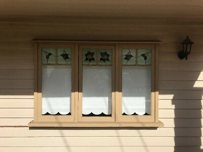 Timber Triple Window With Lead light Panels