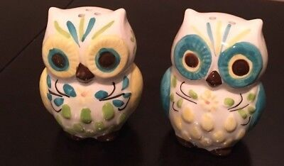 Ceramic Owl Salt & Pepper Shaker Set by Boston Warehouse Hand-painted NEW IN BOX