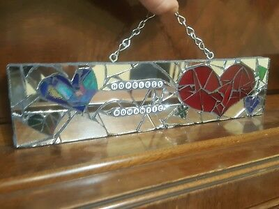 HOPELESS ROMANTIC Stained Glass Mirror Mosaic Handmade Lovers Camper Sign Art