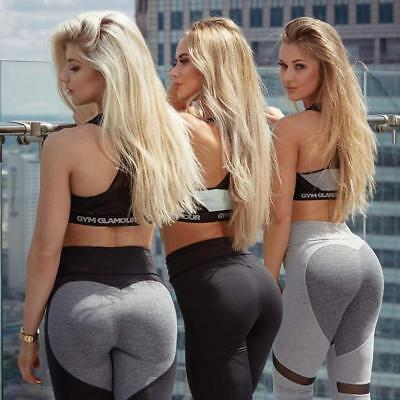 Sexy Heart Yoga Pants Women Patchwork Yoga Leggings Women Push Up Leggins Sport