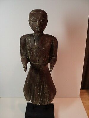 Very nice Hand Carved Wooden Tibetan man. 20 inches tall, stands on wood base.