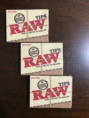 RAW PRE ROLLED Natural Cigarette Filter Paper Tips (3 Packs) **Free Shipping