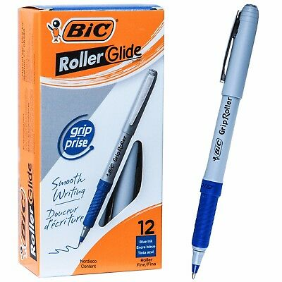 BIC Grip Roller Glide GRE11 31204, Blue Ink, 0.7mm Fine Point, Box of 12 Pens