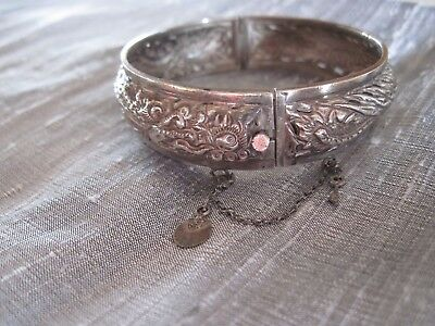 Antique Vintage Sterling Silver Chinese Export Dragon Repousse Bangle Bracelet