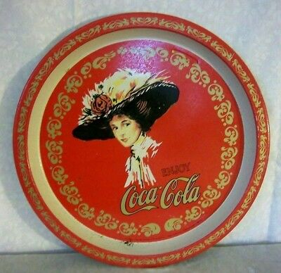 Coca-Cola Round Serving Tray 1982 Red and Gold with Lady in Large Flowered Hat