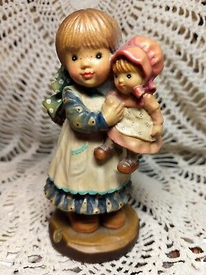 "Anri Sarah Kay Figurine 357/1000 Girl With Doll Valentine Italy 4"" Woodcarving"