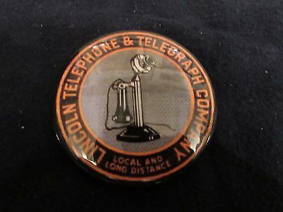 Lincoln Telephone & Telegraph Company Pocket Advertising Mirror. See!