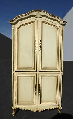 Vintage Drexel French Country Provincial Off White & Gold Trim Armoire w Brass