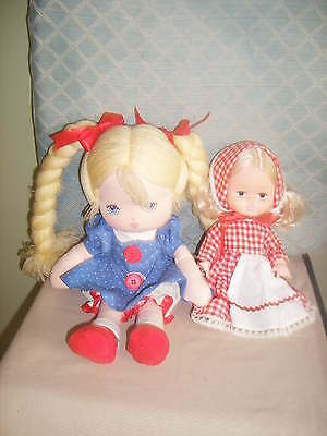 "Doll lot 13"" Soft Torso & 9"" Hard Plastic - Dressed in Polka Dots & Red Gingham"