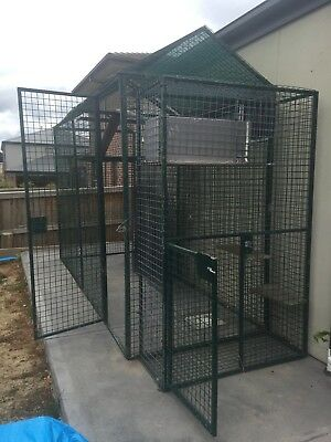 Galvanised steel outdoor cat cage / enclosure / cattery + tunnels + side cage