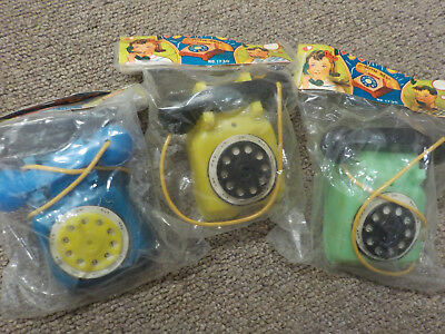 """3- Vintage plastic rotary dial toy phone doll house Hong Kong New Old Stock, 3"""""""