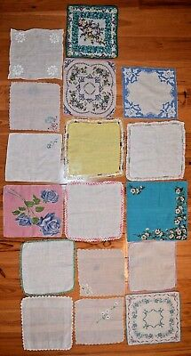 Lot Of 17 Beautiful Vintage Hankies Ladies Handkerchiefs Floral Embroidery