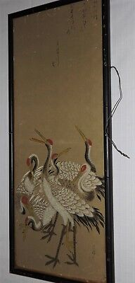 Japanese Hanging Scroll Painting ANTIQUE c1800 EDO PERIOD Seven Cranes