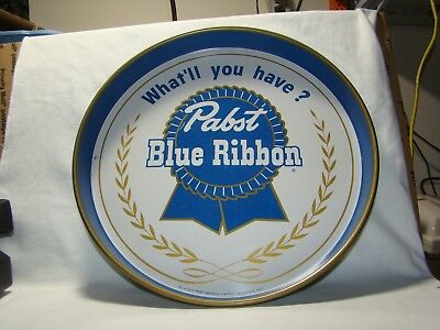 "Vintage Pabst Blue Ribbon Tray ""What'll you have?"" 12"" diameter"