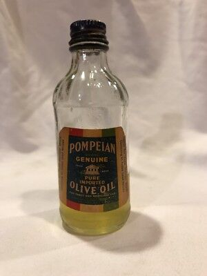Pompeian Imported Olive Oil Antique Glass Bottle Vintage Collectible