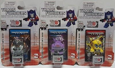 3x Transformers Figurines Bumblebee Shockwave Insecticon Series 2 Collector Card