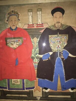 Large Chinese Ancestral Portrait Painting 19th Century