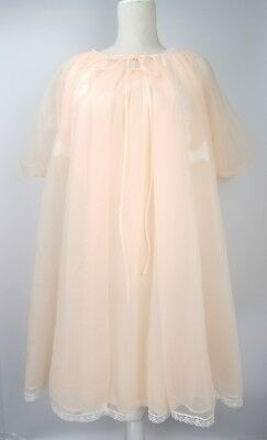 Vintage Radcliffe Women Double Chiffon L Nightgown Peignoir Robe Ruffled Lace  z