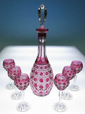 HTF Ajka or Faberge Russian Court Cranberry Cut To Clear Decanter Cordial Set