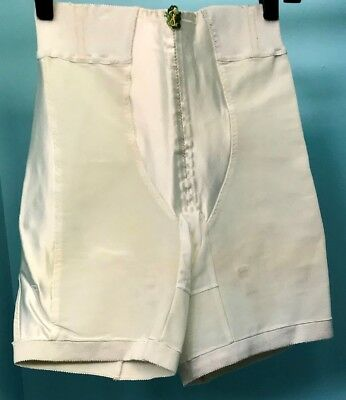 Vintage Cuff-top Long Leg Panty Girdle with Satin Panels, Size L