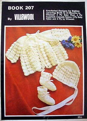 Villawool Crochet Pattern Book - DESIGNS FOR BABIES - Birth to 12 Mths 3 & 4 Ply