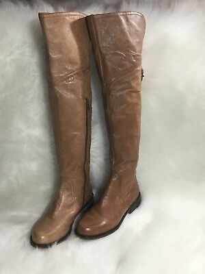13e947c9fa6 STEVE MADDEN Women s Shoes OTK Over the Knee Riding Boots Leather Tan Size  5.5