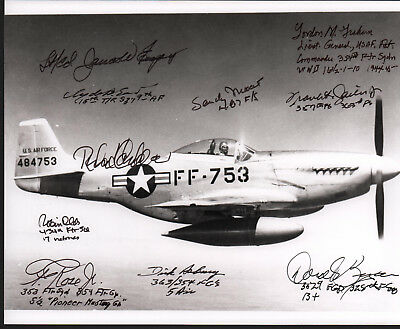 ONE of A KIND AUTOGRAPHED B/W WW II P-51 PHOTO by (10) LEGENDARY FIGHTER ACES!