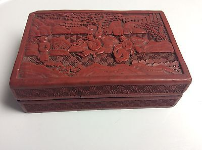 Qing Chinese High Relief Carved Cinnabar Lacquer Box W Orig Surfaces