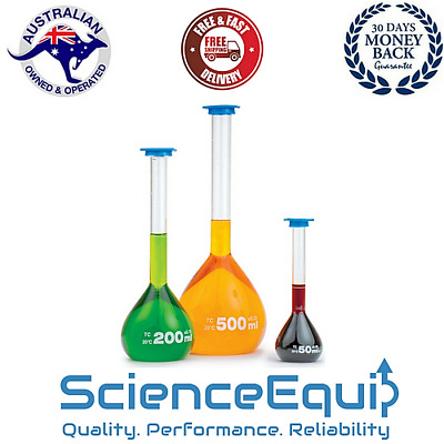 "VOLUMETRIC FLASK CLASS ""A"" Glass, PP Stopper, Graduated, INDIVIDUALLY CERTIFIED"
