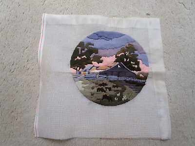 Completed Long Stitch Of A Country Shed & Purple Sky. 28Cm Round.