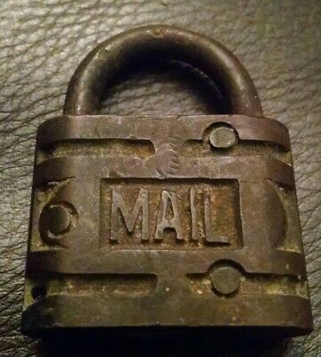 Antique Vintage RFD Rural Free Delivery MAIL Brass Lock Padlock RARE - No Key