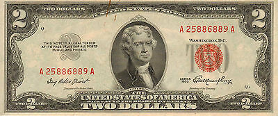1953 $2 United States Note, Red Seal, Circulated High Grade note (Z-187)