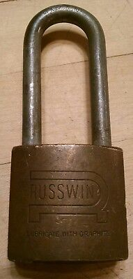 "Vintage Antique 4-3/4"" Brass Russwin Hardened Padlock Lock No Key"