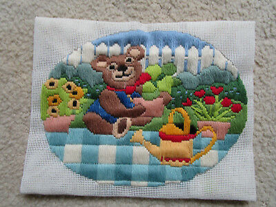 Completed Long Stitch Of A Bear In A Garden 25.5 X 19.5Cms