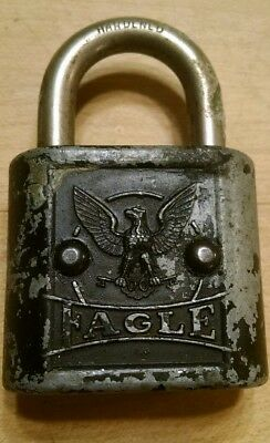 Eagle Lock Co Rustic Padlock LOCK Vintage Antique Display (No KEY) Early 1900's